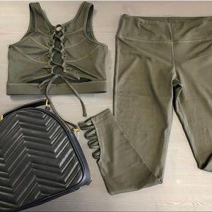 Olive Green sports bra and leggings